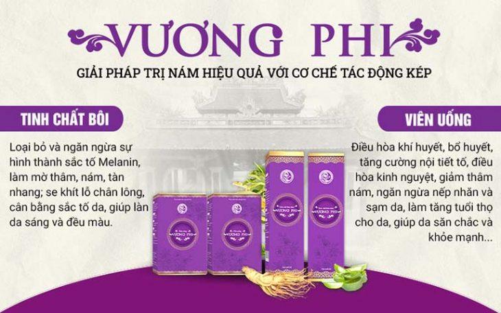 Bộ sản phẩm Vương Phi bao gồm thuốc viên uống và tinh chất bôi, đem tới tác động toàn diện trong xử lý nám, tàn nhang