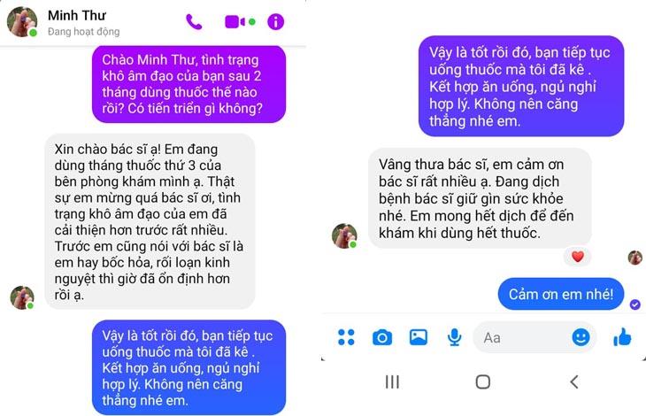 Người bệnh gửi tin nhắn về cho bác sĩ Đỗ Thanh Hà