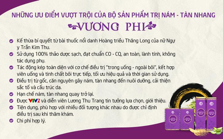 Bộ sản phẩm Nám Tàn nhang Vương Phi nổi bật với nhiều ưu điểm vượt trội